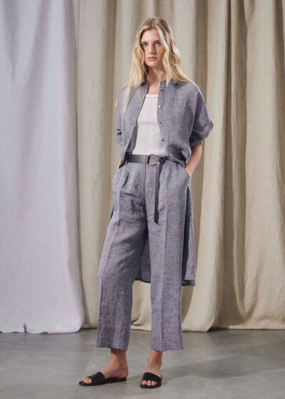 PUROTATTO - 3080 - Wide leg trousers with pockets - 002