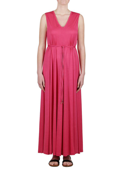 PUROTATTO - 4001 - V-neck dress with inverted pleats creating a flared silhouette - 001