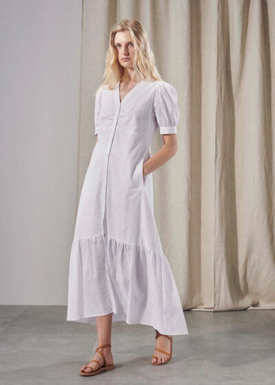 PUROTATTO - 4007 - V-neck dress with slightly puffy sleeves and bottom ruffle - 004