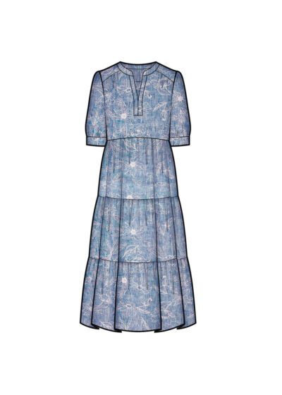 PUROTATTO - 4009 - Henley-style dress with ruffles