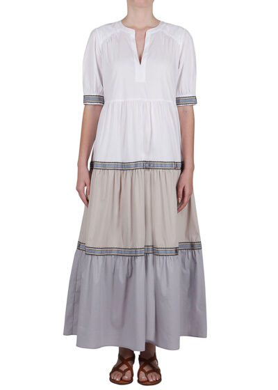 PUROTATTO - 4014 - Dress with short sleeves and decorative ribbon - 001