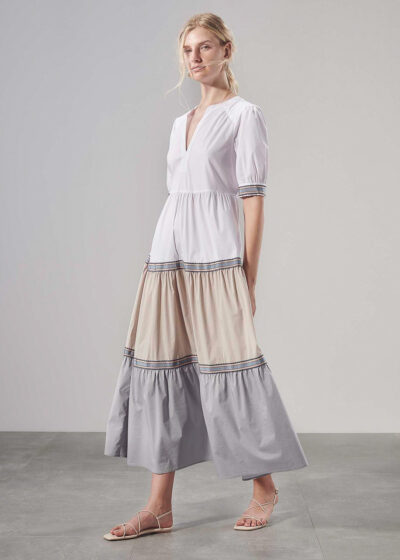 PUROTATTO - 4014 - Dress with short sleeves and decorative ribbon - 004