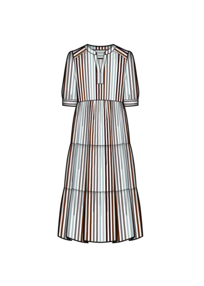 PUROTATTO - 4019 - Henley-style dress with ruffles