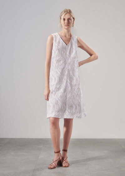 PUROTATTO - 4021 - A-line sleeveless dress in twill cotton with flock print - 004