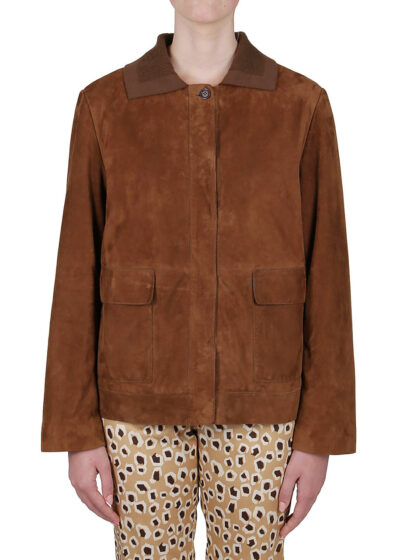 PUROTATTO - 8010 - Leather jacket with flap pockets and knitted collar - 001