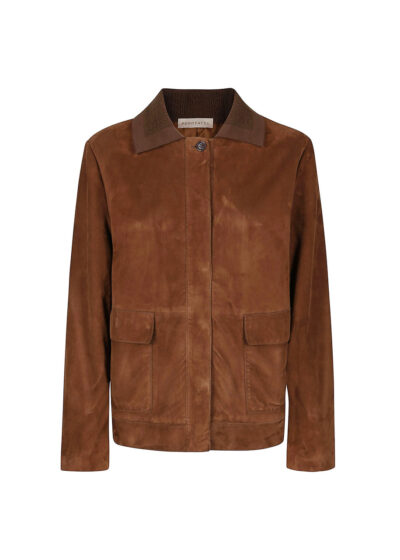 PUROTATTO - 8010 - Leather jacket with flap pockets and knitted collar - 002