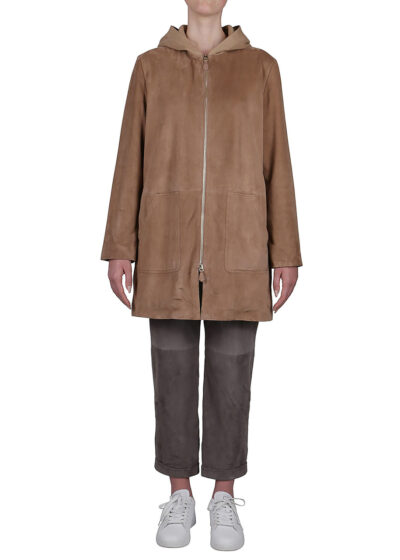 PUROTATTO - 8011 - Leather coat with patch pockets and knitted hood - 001