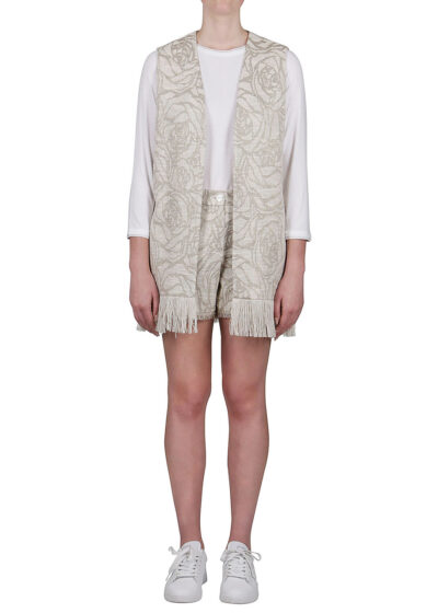 PUROTATTO - 8111 - Jacquard gilet with fringes decoration - 001