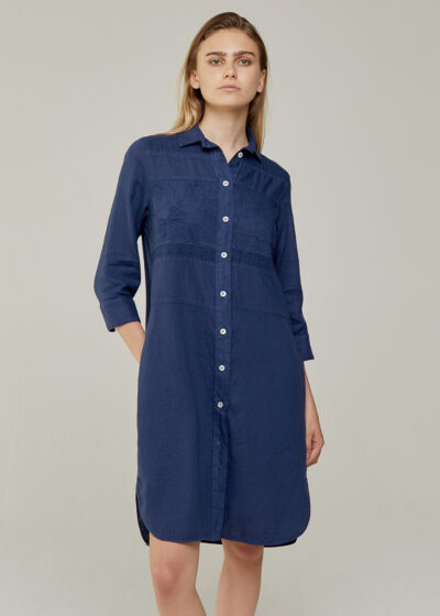 ROSSO 35 - N1376VR - Garment-Dyed Embroidered Shirt-Dress - 001