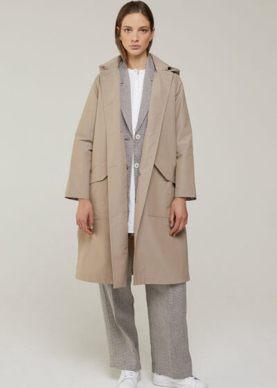 ROSSO 35 - S5965A - Oversized Hooded Trench Coat - 001