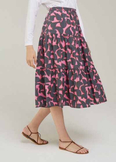 ROSSO 35 - S5993G - Printed Cotton Tired Skirt - 001