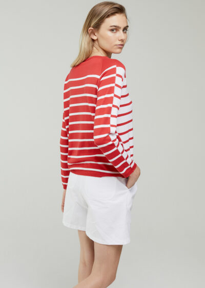 ROSSO 35 - S6043MG - Silk-Cotton striped knit Sweater - 001