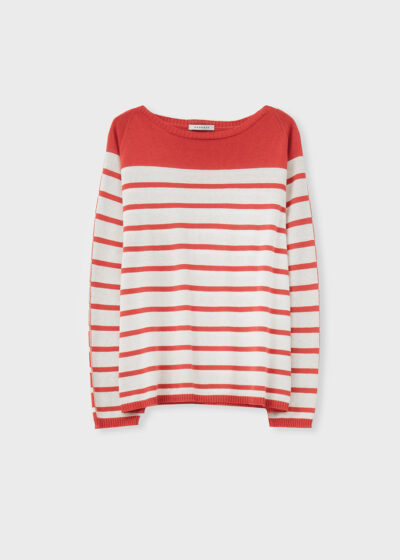 ROSSO 35 - S6043MG - Silk-Cotton striped knit Sweater - 002