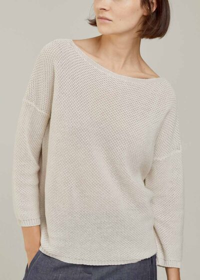 ROSSO 35 - S6044MG - Linen-cotton fine knit sweater - 001