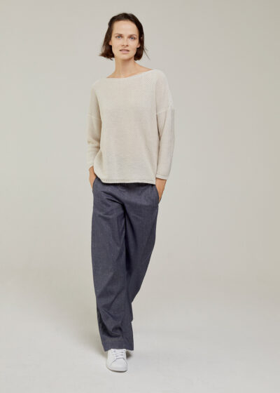 ROSSO 35 - S6044MG - Linen-cotton fine knit sweater - 003