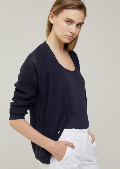 ROSSO 35 - S6045MG - Linen-cotton knit cardigan - 001