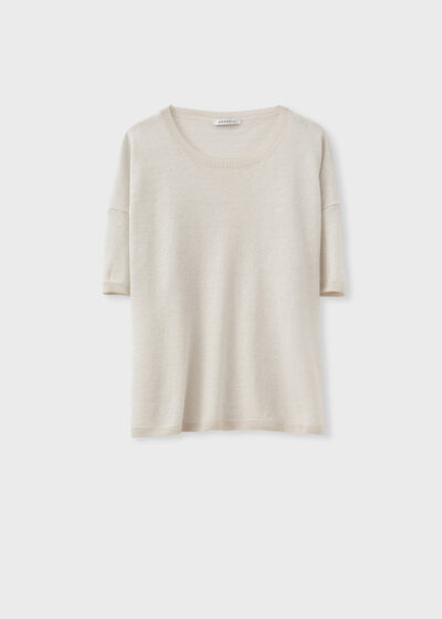 ROSSO 35 - S6046MG - Linen-cotton fine knit sweater - 002