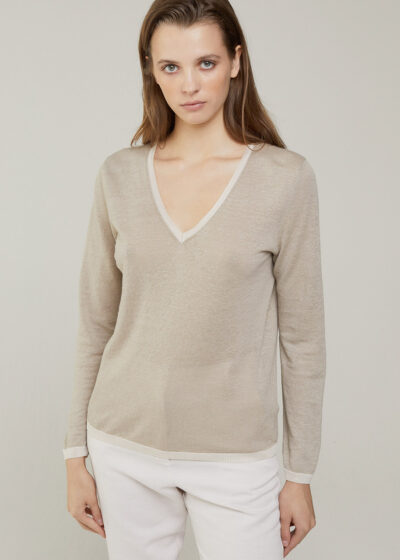 ROSSO 35 - S6047MG - Linen-cotton fine knit sweater - 001