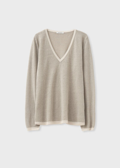 ROSSO 35 - S6047MG - Linen-cotton fine knit sweater - 002
