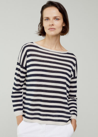 ROSSO 35 - S6048MG - Linen-cotton striped knit sweater - 001