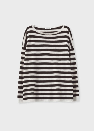 ROSSO 35 - S6048MG - Linen-cotton striped knit sweater - 002
