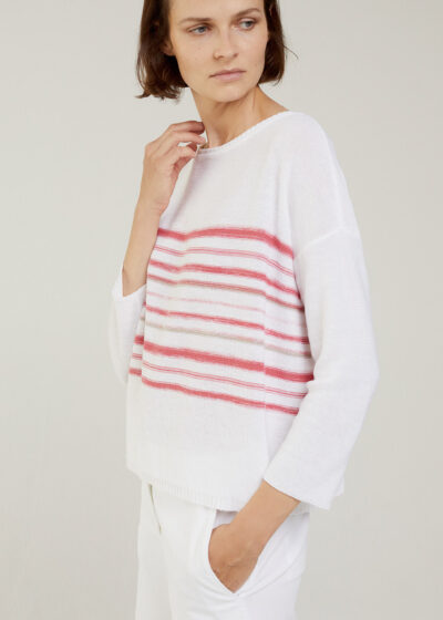 ROSSO 35 - S6049MG - Linen-cotton striped knit sweater - 001