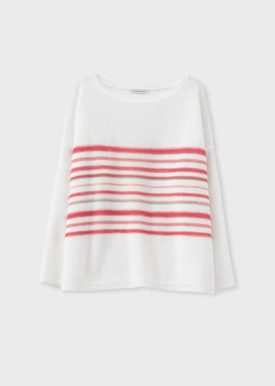 ROSSO 35 - S6049MG - Linen-cotton striped knit sweater - 002