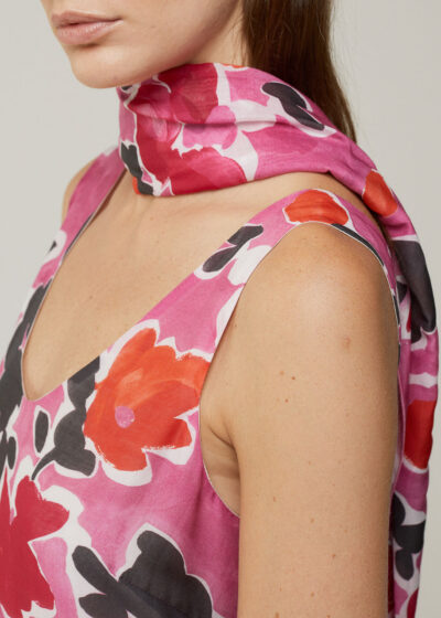 ROSSO 35 - SC641A - Printed Cotton-Silk Voile Scarf - 001