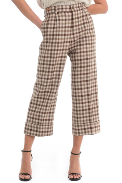 BERWICH WOMAN - 2021-mz1359x - Trousers with two pleats. wide leg with turn-up - 001