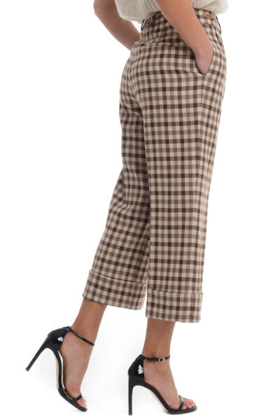 BERWICH WOMAN - 2021-mz1359x - Trousers with two pleats. wide leg with turn-up - 002