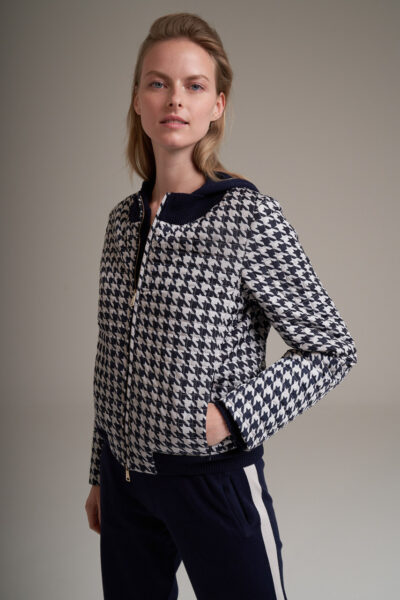 MANZONI 24 WOMAN - 22PM302 - Quilted cashmere padded printed nylon blouson with knit details - 002