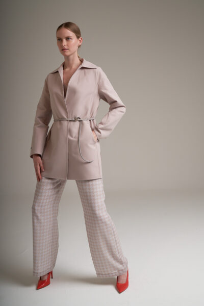 MANZONI 24 WOMAN - 22PM311 - Suede jacket with leather belt - 001
