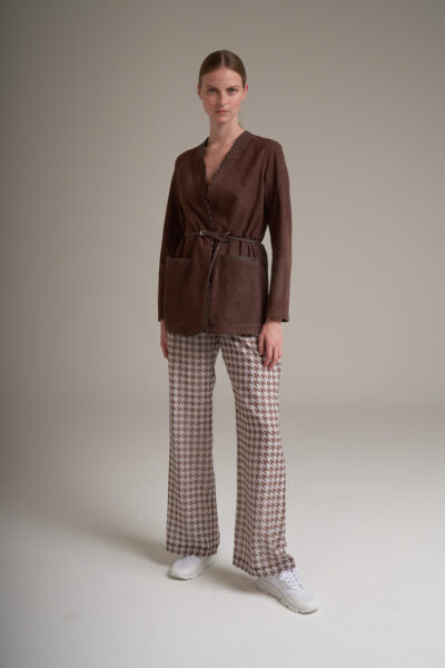 MANZONI 24 WOMAN - 22PM315 - Nappa V-neck jacket with nappa lace details and belt - 001