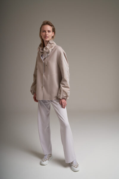 MANZONI 24 WOMAN - 22PM328 - Double face Loro Piana jacket with taffetà collar and sleeves - 002