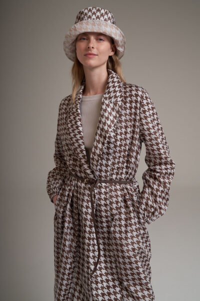 MANZONI 24 WOMAN - 22PM334 - Taffetà trench with leather belt - 002