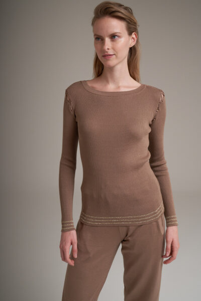 MANZONI 24 WOMAN - 22PM348 - Slim cotton sweater with lace detail - 001